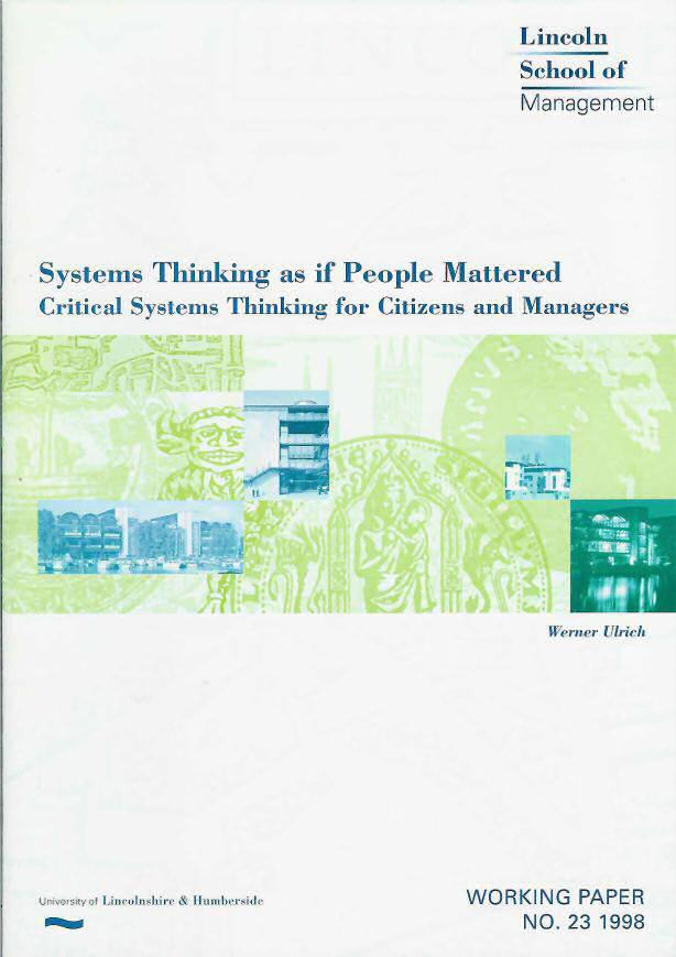 Cover, Systems Thinking as if People Mattered